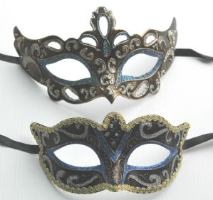 Blue and Black Masquerade Mask - His and Hers Masks | Masks and Tiaras